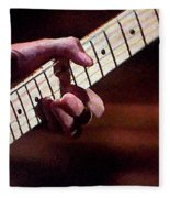 Clapton Playing Guitar - Watercolor Painting Fleece Blanket