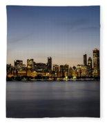 Classic Chicago Skyline At Dusk Fleece Blanket