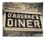 Classic Diner Neon Sign Middletown Connecticut Fleece Blanket