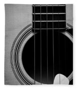 Classic Guitar In Black And White Fleece Blanket
