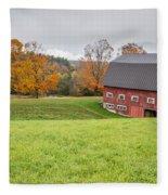 Classic New England Fall Farm Scene Fleece Blanket