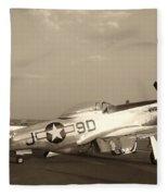 Classic P-51 Mustang Fighter Plane Fleece Blanket