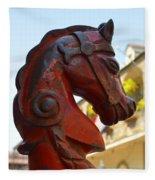 Classic Red Horsehead Post Fleece Blanket