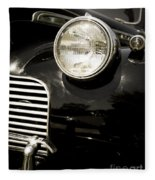 Classic Vintage Car Black And White Fleece Blanket
