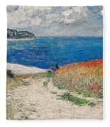 Claude Monet's Path In The Wheat Fields At Pourville-1882 Fleece Blanket