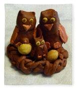 Clay Owl Family Fleece Blanket