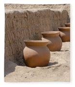 Clay Pots At Huaca Pucllana In Lima Peru Fleece Blanket