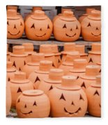 Clay Pumpkins Standing Happy Near The Wood Fence Fleece Blanket