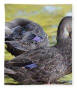 Ducks On Green Fleece Blanket