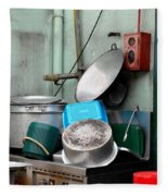 Clean Pots And Pans On Outdoor Sink Fleece Blanket