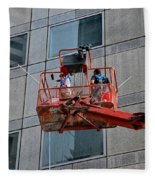 Cleaning Skyscraper Window And Wall With Snorkel Singapore Fleece Blanket