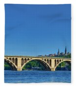 Clear Blue Skies At Key Bridge Fleece Blanket