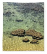 Clear Indian Ocean Water With Rocks At Galle Sri Lanka Fleece Blanket