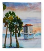 Sunset At Clearwater Beach Fleece Blanket