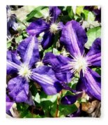 Clematis On A Stone Wall Fleece Blanket