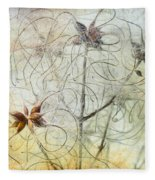 Clematis Virginiana Seed Head Textures Fleece Blanket