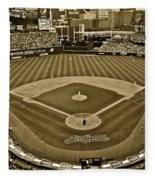 Cleveland Baseball In Sepia Fleece Blanket