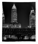 Cleveland Black And White Night Fleece Blanket