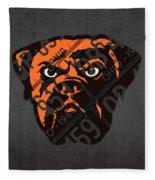 Cleveland Browns Football Team Retro Logo Ohio License Plate Art Fleece Blanket