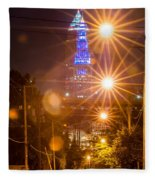 Cleveland Downtown Street View At Night Fleece Blanket