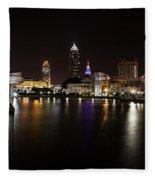 Cleveland Lakefront Nightscape Fleece Blanket