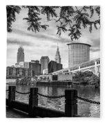 Cleveland River Cityscape Fleece Blanket