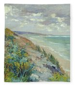 Cliffs By The Sea At Trouville  Fleece Blanket