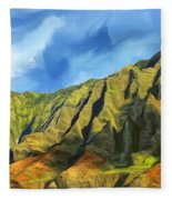 Cliffs On The Na Pali Coast Fleece Blanket