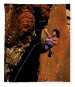 Climber, Red Rocks, Nv Fleece Blanket