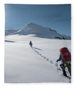Climbers Nearing The Summit Fleece Blanket