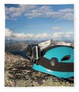 Climbing Helmet With Camera On Mountain Fleece Blanket
