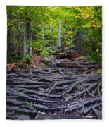 Climbing The Rocks And Roots Of Bald Mountain Fleece Blanket