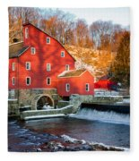 Clinton Mill In Winter Fleece Blanket