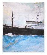 Clipper Epic Longline Fishing Boat Nautical Chart Map Art Fleece Blanket