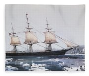 Clipper Ship Red Jacket In The Ice Off Cape Horn On Her Passage From Australia To Liverpool Fleece Blanket