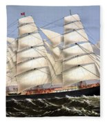Clipper Ship Three Brothers Fleece Blanket