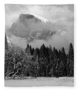 Cloaked In A Snow Storm - Monochrome Fleece Blanket
