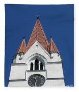 Clock Tower. Evangelic Lutheran Church. Silute. Lithuania. Fleece Blanket