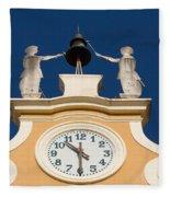 Clock Tower In Bardolino Fleece Blanket