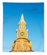 Clock Tower Of Cartagena Fleece Blanket