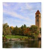 Clocktower And Autumn Colors Fleece Blanket