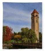 Clocktower Fall Colors Fleece Blanket