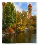Clocktower In Fall Fleece Blanket