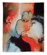 Close Up Kiss Fleece Blanket