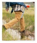 Close-up Of A Male Hiker Fleece Blanket