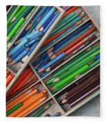 Close-up Of Color Pencils, Ishoj Fleece Blanket