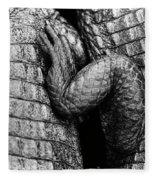 Close Up Of Crocodiles Leg Black Fleece Blanket