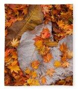 Close-up Of Fallen Maple Leaves Fleece Blanket