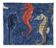 Close-up Of Five Seahorses Side By Side  Fleece Blanket