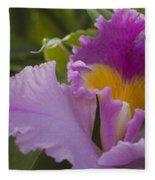 Close-up Of Purple Orchid Flowers Fleece Blanket